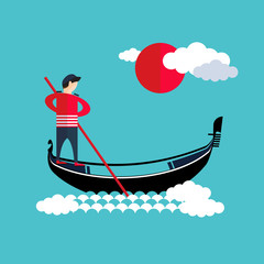 Venice gondola, gondolier icon
