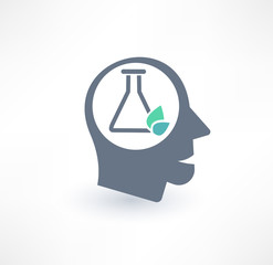 Chemist icon. The concept of scientific workers. Logo design.