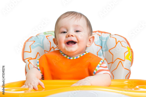 canvas print picture happy baby child waiting for food