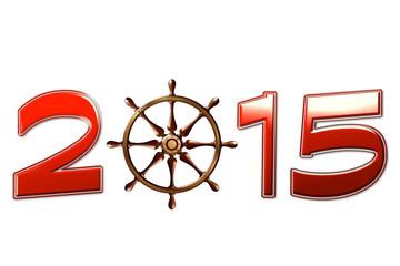 Anno nuovo 2015 con disegno timone barca