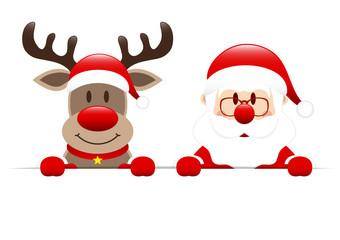 Dark Red Rudolph & Santa Banner