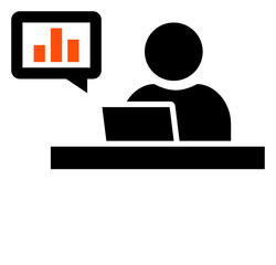 Business analyst at workplace icon
