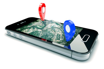 Mobile GPS navigation, travel and tourism concept