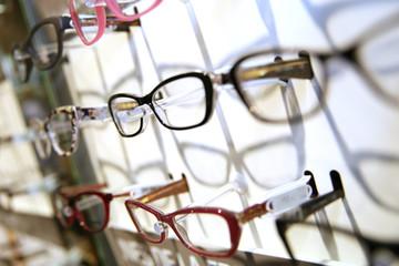 Eyeglasses set on a display unit in shop