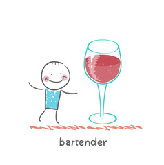 bartender stands next to a large glass of wine