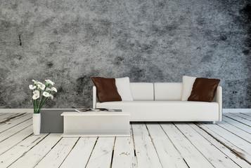 Modern minimalist grey and white interior decor
