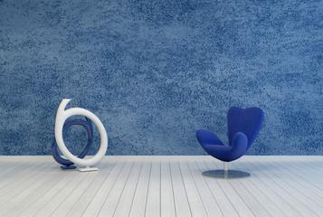 Minimalist blue living room decor and interior