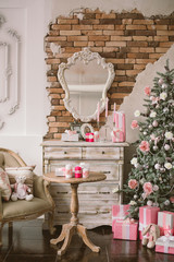 New Year's and Christmas interior in pink color