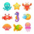 Cute sea animals - 73343219