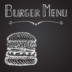 Chalk painted illustration of burger menu.