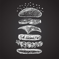 Illustration of chalk painted components of burger.