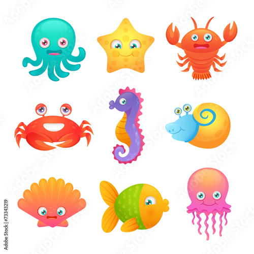 Cute sea animals - 73343219