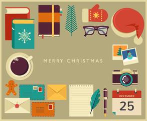 Christmas Santa's desktop flat vector design
