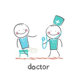Doctor with a sick, broken leg