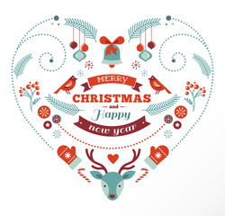 Christmas design heart with birds and deer