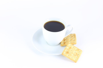 Сup of coffee with biscuits