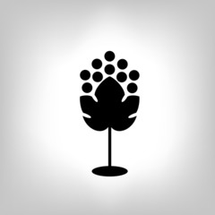 Black silhouette of grape. Vector illustration.