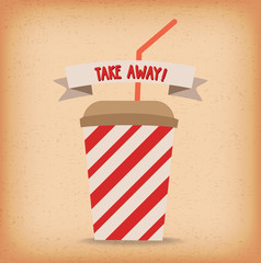 Take-away fast food coffee paper cup vector template