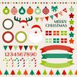 Christmas Icon Set Red/Green/Orange/Beige