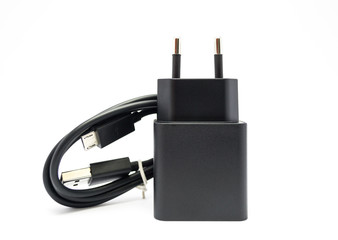 Black charger and micro usb cable