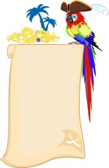 Pirate parrot and scroll
