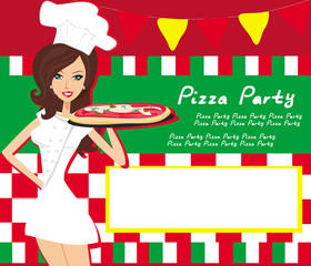 smiling waitress serving pizza, place for your text
