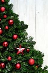 Red ornament balls Christmas tree