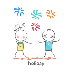 holiday with colorful fireworks