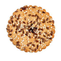 Round cookie with sesame and flax seeds