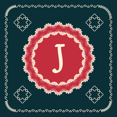 Vector square cards with letters of the alphabet J