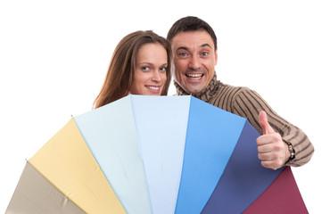 Happy couple with umbrella