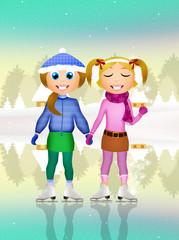 girls skating on ice