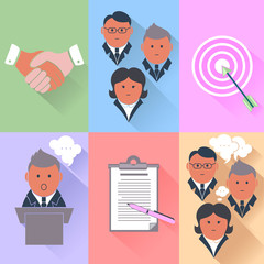 Business partnership, management, teamwork icons