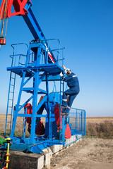 Oil worker check oil pump