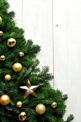 Gold ornament ball Christmas tree