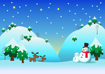 Snowman with snow theme background