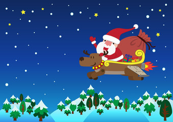 Santa Claus with jet reindeer christmas