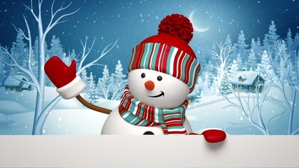 Christmas greeting card, snowman in winter forest