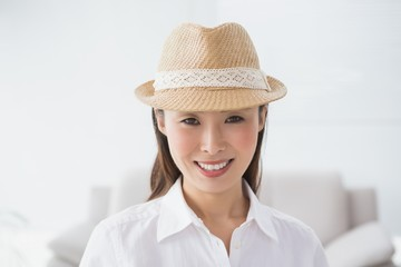 Hipster businesswoman smiling at camera