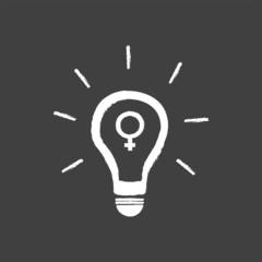 Idea Light Bulb Vector With Female Gender Symbol