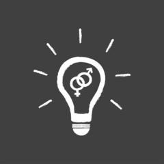 Idea Light Bulb Vector With Sex Symbol