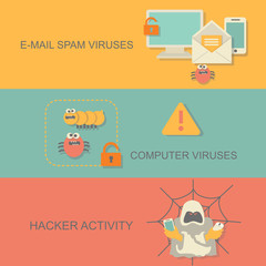 Hacker activity computer and e-mail spam viruses concept