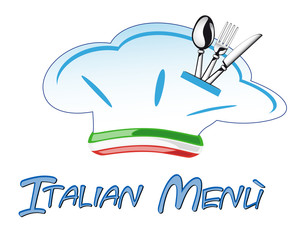 Italian hat chef with cutlery