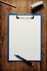Blank white paper on a clipboard