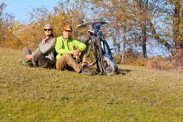 Mountain bike c relaxing outdoors a country walk near the r