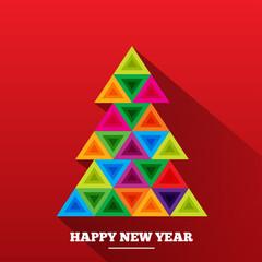 Christmas tree in rainbow triangles.