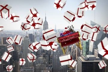 Composite image of white and red christmas presents