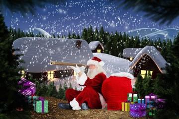 Composite image of santa looking through a telescope