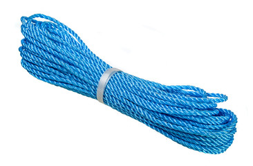 Blue nylon rope over white