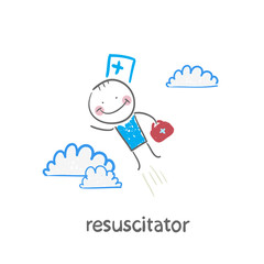 resuscitator flies to the patient